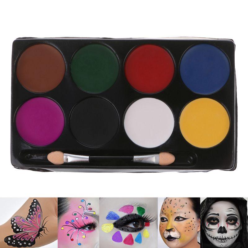 8 Colors Face Body Paint Palette Halloween Makeup Non-toxic Water Paint Oil Christmas Party Fancy Dress Primer