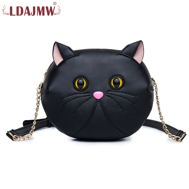 LDAJMW Fashion Women Leather Messenger Bag Cute Cat Ear Crossbody Bags Women Famous Brands Designers Chain Shoulder Bags Girls miwind f graffiti istitching chain messenger chain bag women s premium lady oblique crossbody shoulder bags famous brands c c