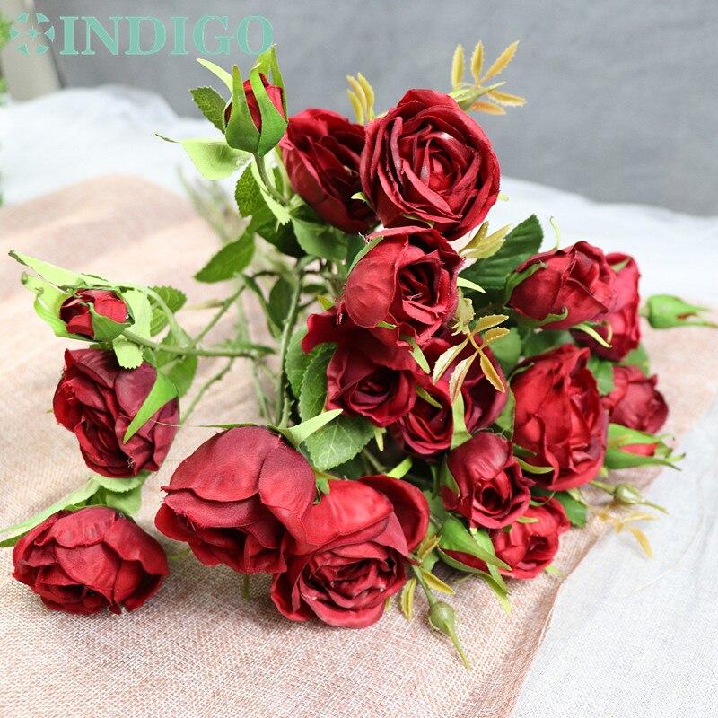 5 Köpfe Red Rose Spray Tabelle Dekorative Rose Blumen Künstliche - Partyartikel und Dekoration - Foto 4