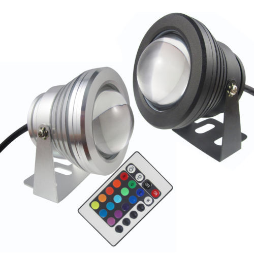 Hot sell LED Underwater Spot Light DC12V 10W RGB colorful Garden Pool Pond Lamp + IR Control or Warm Cool White 10w 450 lumen waterproof rgb led underwater lamp light with remote controller dc 12v