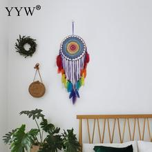 Scandinavian Style Dream Catcher Dreamcatcher Colorful Feather Bead Hanging Decoration Ornament Gift Wind Chimes Art Pendant