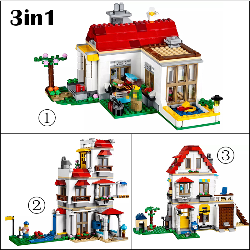 LELE Minecraft 738pcs My World City House 3in1 Building Blocks Mini Bricks Figure Creator legoing Architecture toys for children 33068 1516pcs lele my world minecraft the village