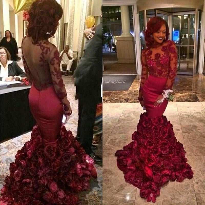 Burgundy Long Prom Dresses with Sleeves