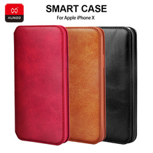 XUNDD Brand Original Leather Wallet Case For iPhone X Xs XS Max Phone Shockproof 360 Full Protective Back Flip Smart Cover Cases