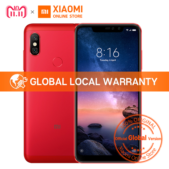 "Global Version Xiaomi Redmi Note 6 Pro Snapdragon 636 3GB 32GB 6.26"" Notch Full Screen Dual Camera 4000mAh Fingerprint Cellphone"