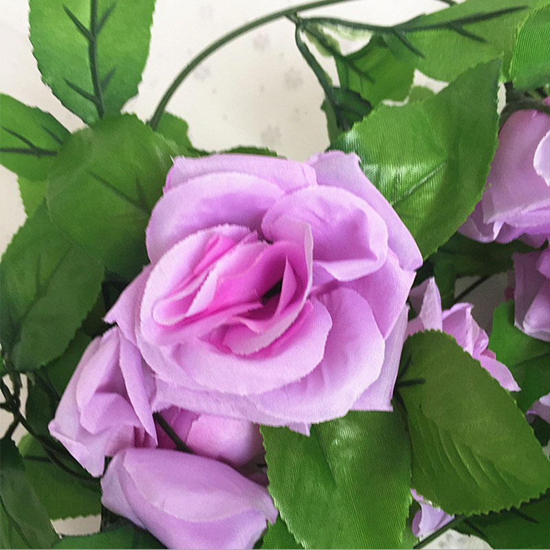 250CM/lot Silk Roses Artificial Flowers With Green Leaves For Home Wedding Decoration 5