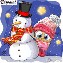 Dispaint Full Square/Round Drill 5D DIY Diamond Painting Owl snowman 3D Embroidery Cross Stitch Home Decor A12429