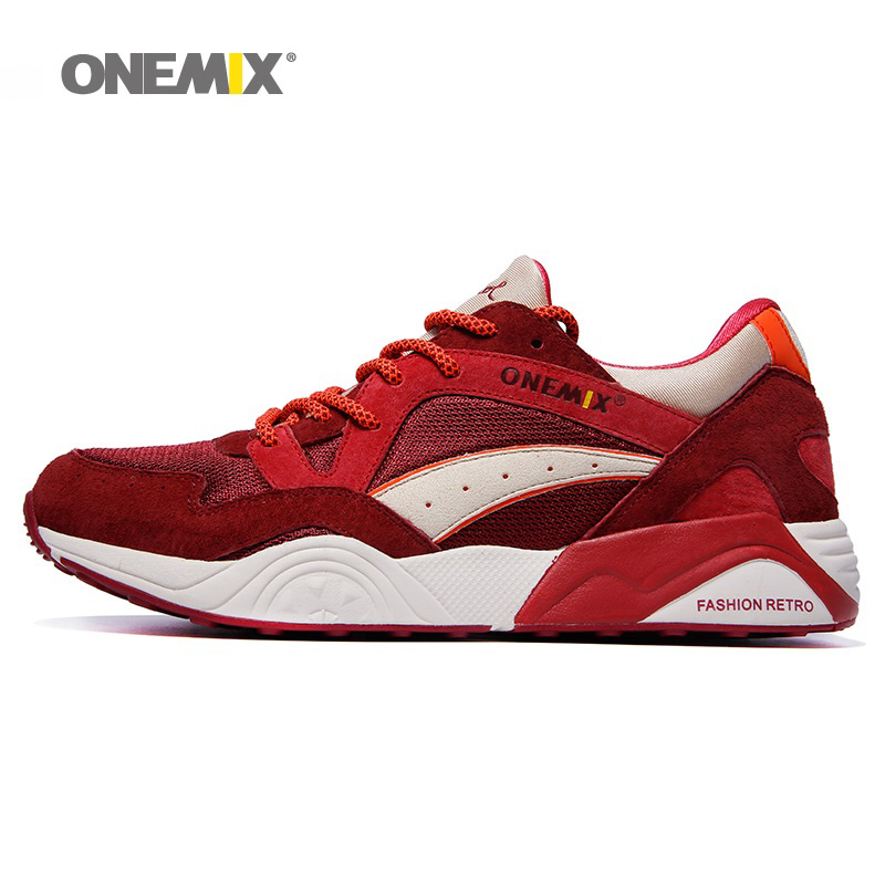 ONEMIX Men Running Shoes for Women Light Retro Mesh Breathable Trail Athletic Red Sports Outdoor Trekking Walking Sneakers 2018