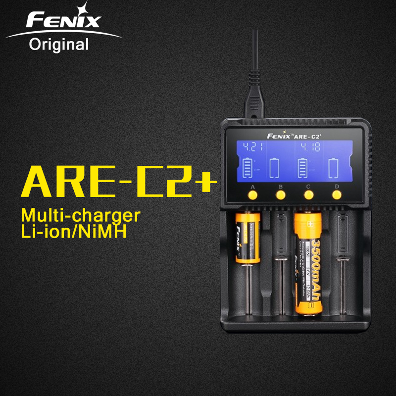 Original Fenix ARE-C2 Plus Smart AC DC Battery Charger for Li-ion NiMH Nicd RCR123 18650 16340 14500 26650 C AA AAA Battery free customs taxes high quality skyy 48 volt li ion battery pack with charger and bms for 48v 15ah lithium battery pack