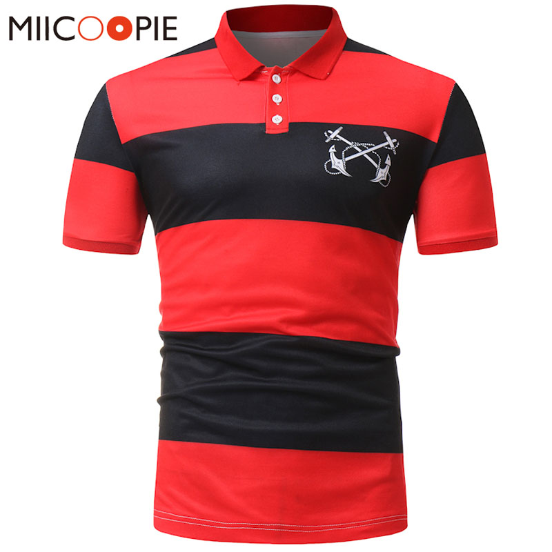 2018 Brand Clothes Mens Polo Shirt Cool Summer Striped Business Casual Breathable Short Sleeve Slim Camisa Polo Shirt Tops&Tees