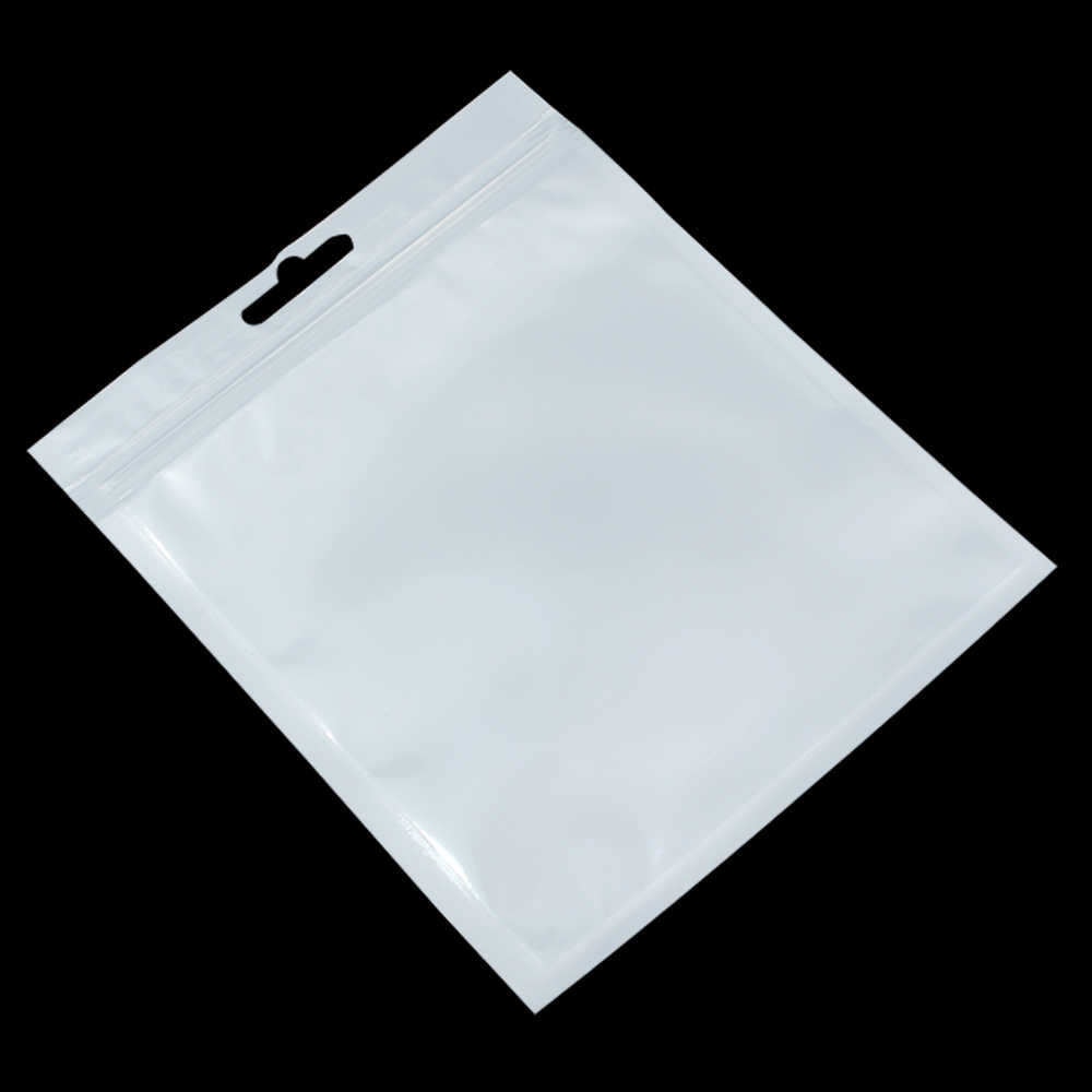 White / Clear Self Seal Zipper Plastic Packaging Pouch Pack Bag Ziplock Zip Lock Storage Bag Retail Package With Hang Hole