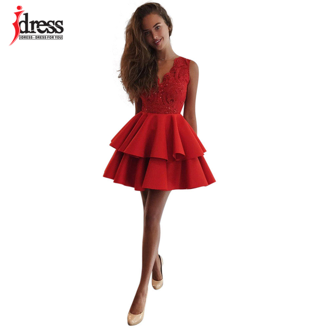 4a67ad36e IDress Fashion Women V-neck Sleeveless Cupcake Dress Red/White Lace Dress  for Women Sexy Party A-Line Summer Dress 2018 Vestidos