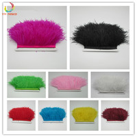 10 12cm Height Multi Color Natural Ostrich Feather Lace 100 yards/bag Ostrich Plume Fringe Trims Clothing Accessories wholesale