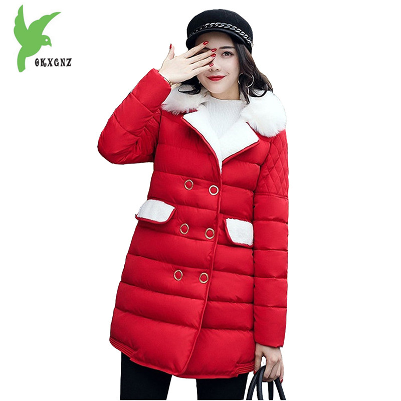 New Korean Version Winter Women Feather Cotton Coat Fashion Solid Color Plus Size Thick Warm Casual Tops Slim Jackets OKXGNZ 811 winter women s cotton jackets new fashion hooded warm coats solid color thicker casual tops plus size slim outerwear okxgnz a735