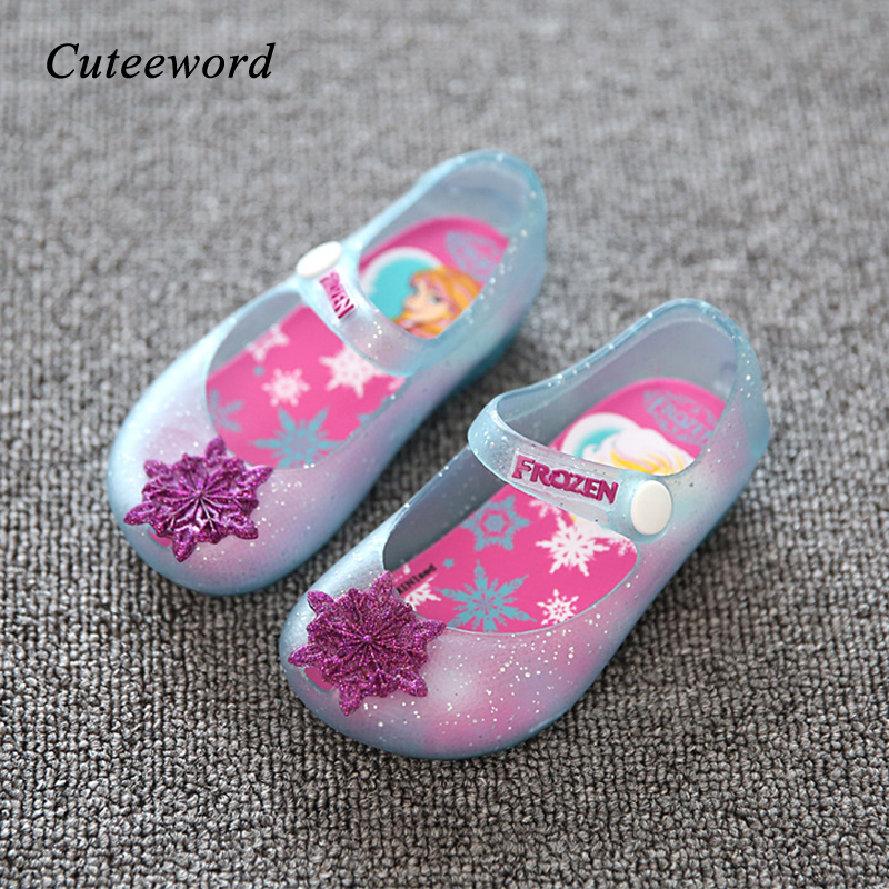Kids Jelly Shoes Girls Sandals Princess Shoes Mini Sed Children Sandals 2019 Summer New Snowflake Kids Beach Shoes Non slip|Sandals| |  - title=