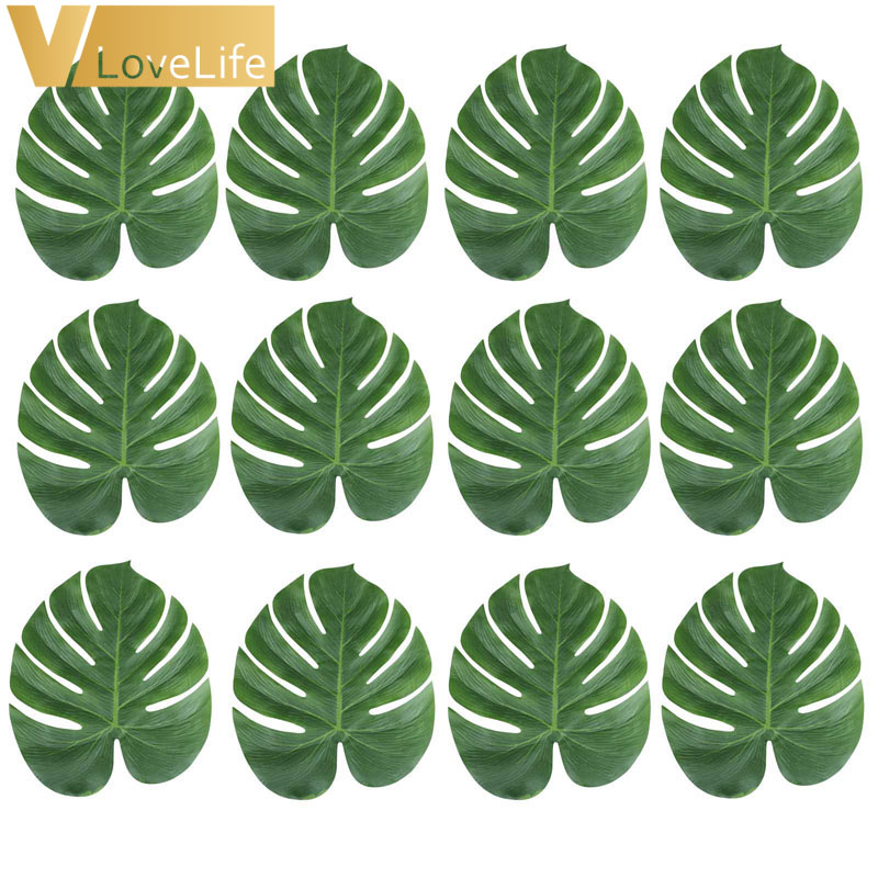12pcs Artificial Leaf Tropical Palm Leaves Simulation Leaf for Wedding Hawaiian Luau Theme Party Decor Home garden 18cm x 20cm