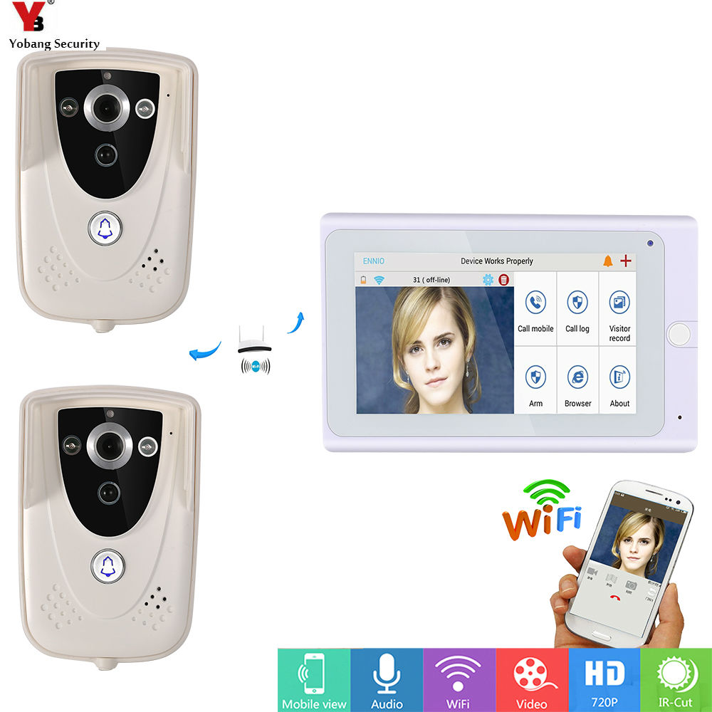 Yobang Security 7inch Wireless/Wifi IP Video Door Phone Doorbell Intercom Entry System with ith 1 Monitor 2 Outdoor camera PIRYobang Security 7inch Wireless/Wifi IP Video Door Phone Doorbell Intercom Entry System with ith 1 Monitor 2 Outdoor camera PIR
