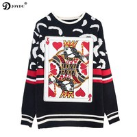 JOYDU Runway Oversized Pullovers Women Sweater 2018 Winter Thick Playing Cards King Fashion Black Letters Embroidery Jumper Top
