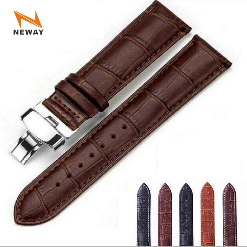 Leather Watch Band Wrist Strap 16mm 18mm 20mm 22mm 24mm Silver Butterfly Clasp Replacement Bracelet Belt Men Women Black Brown 18mm 20mm 22mm 24mm nylon watch band tool for hamilton zulu fabric strap wrist belt bracelet black brown blue green orange