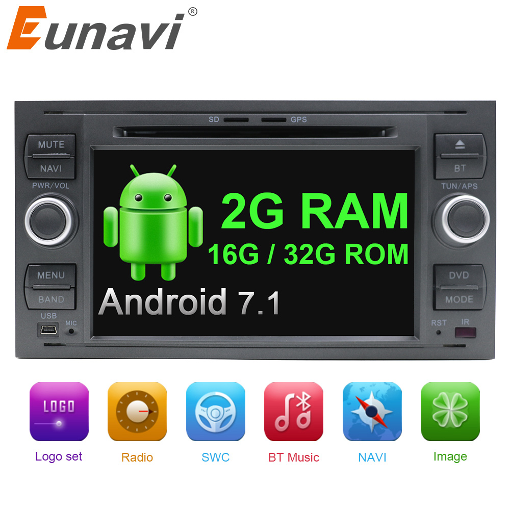 Eunavi 2 Din Android 7.1 2G RAM Car DVD Player GPS Navi stereo OBD2 for FORD FOCUS MONDEO S-MAX CONNECT 2005-2007 WIFI Bluetooth