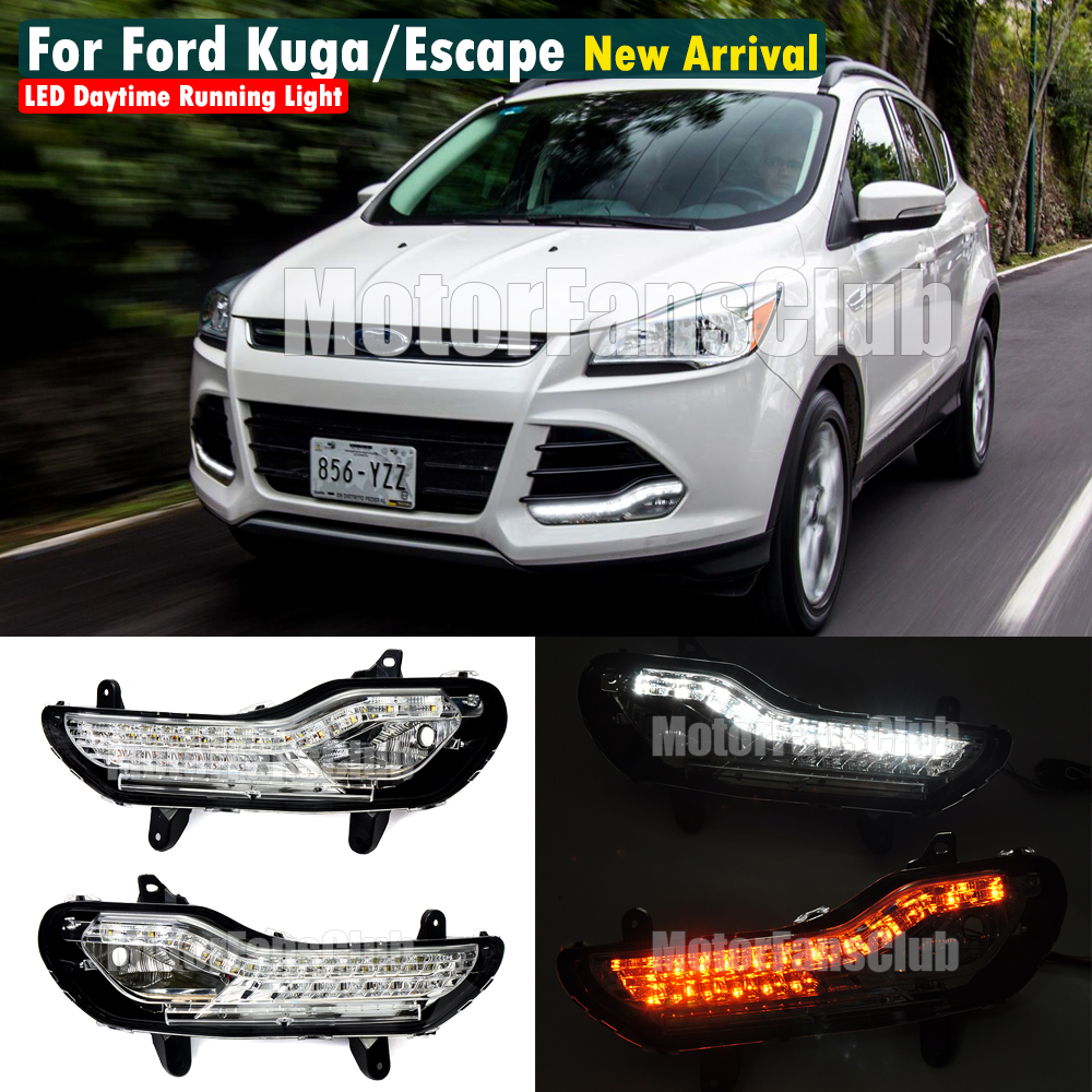 led drl daytime running light for ford escape kuga 2014 2015 with yellow turn signals and blue night running light free shipping for ford maverick escape kuga 2013 led drl daytime running light super bright with yellow turn signals
