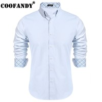 COOFANDY 2017 New Arrivals Business Male Shirts Mens Casual Long Sleeve Patchwork Contrast Color Business Button