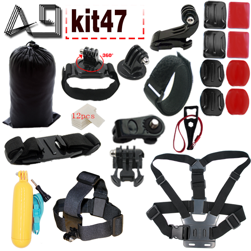 A9 for Gopro Accessories Set For Gopro 5 4 3 EKEN H9R F60R W9R Xiaomi Yi 4K SJ4000 Action Cam with Head Strap Floating Stick