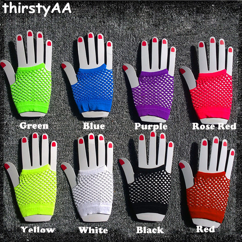 2017 Hot Sale High Quality Neon Short Fishnet Gloves Fish Net Black Fancy  Party Dance Club Nylon+Spandex Mesh Short Gloves