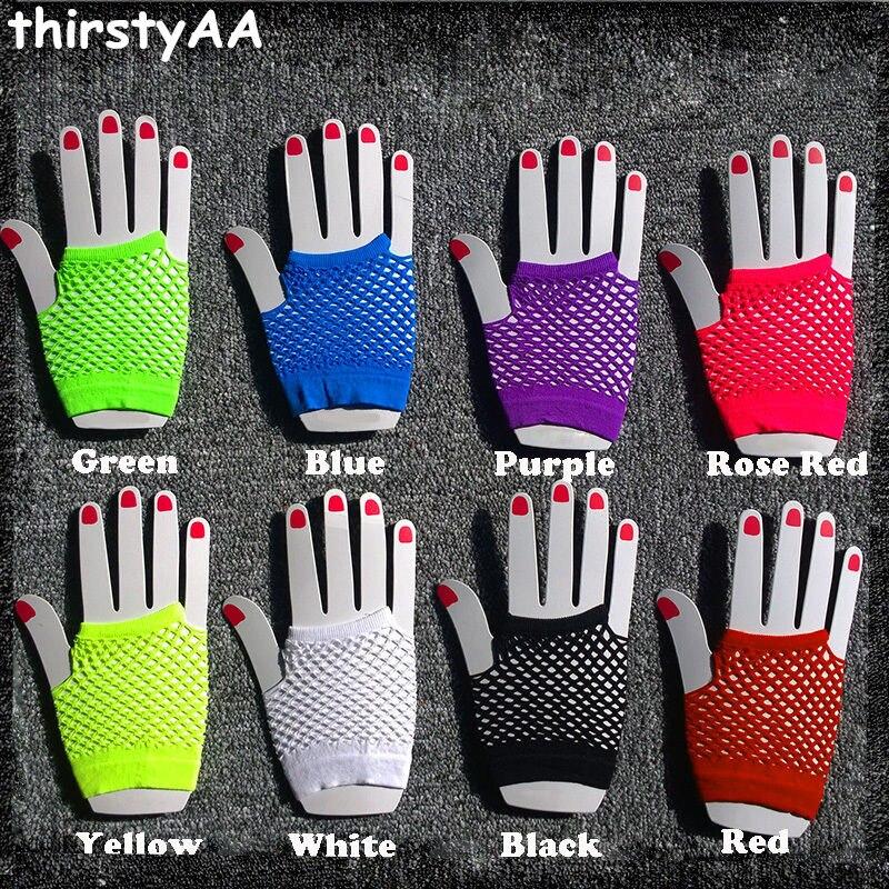 2017 Hot Sale High Quality Neon Short Fishnet Gloves Fish Net Black Fancy  Party Dance Club Nylon+Spandex Mesh Short Gloves