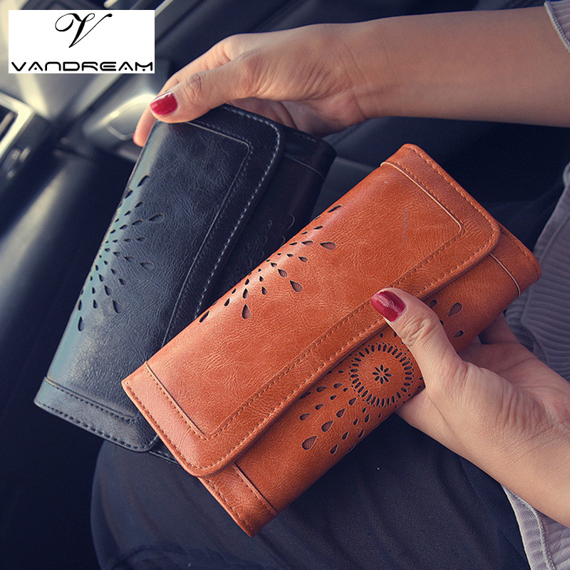 High Quality Hollow Wallet Women Retro Long Designer Lady Hasp Clutch Bag Top Pu Leather Female Card Holder Wallets Coin Purse 2016 new brand short women s wallet high quality guarantee designer s high heeled shoes hasp purse for lady free shipping