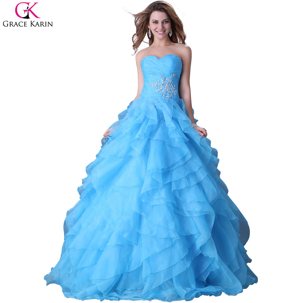 Sweetheart Grace Karin Strapless Organza Red Blue Yellow Long Puffy ...