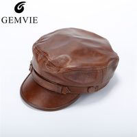 GEMVIE Fall Winter Leather Hat For Men Women Fashion Solid Color Peak Cap Real Cow Leather Newsboy Cap Flat Top Military Hat