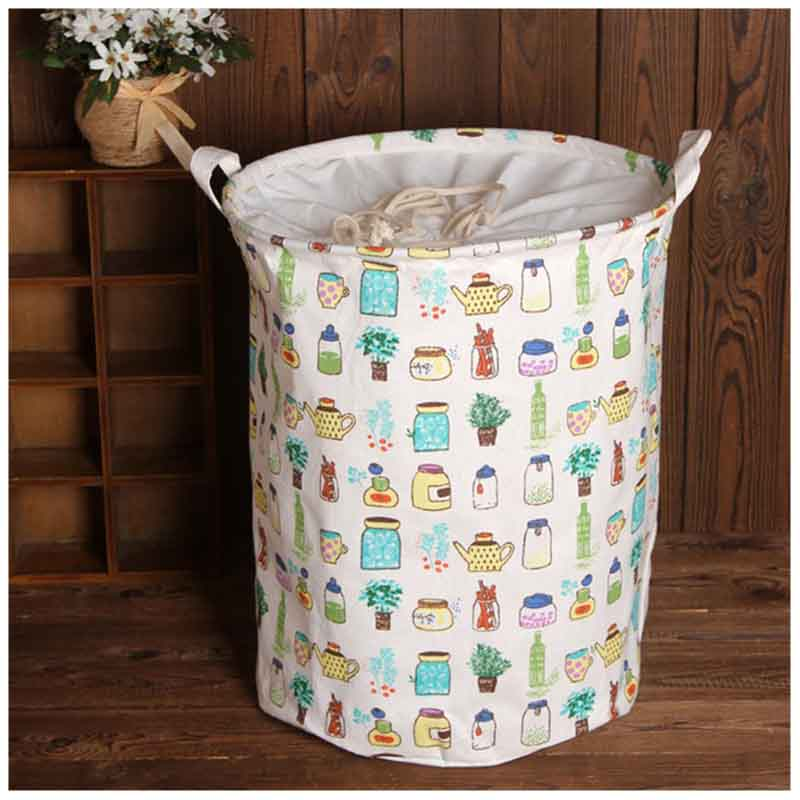 Large Bucket Drawstring Beam Port Dirty Clothes Laundry Basket Foldable Toys Storage Organizer Household Sundries Bag (5types)