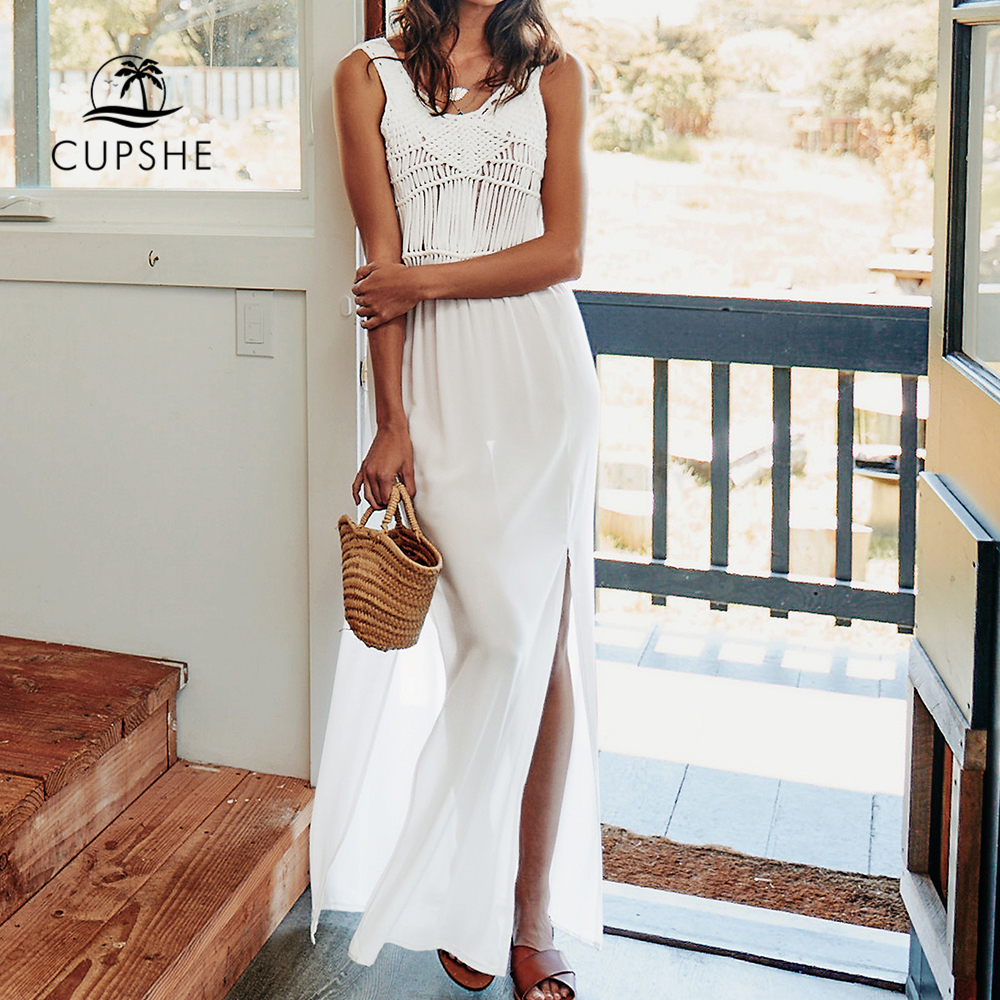 CUPSHE Solid White Long Crochet Slit Cover Up 2019 Women Sexy Sleeveless Maxi Dress Beachwear