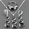 925 Sterling Silver Square Black Zircon Jewelry Sets Long Drop Earrings/Pendant/Necklace/Ring For Women Free Jewelry Box TZ78