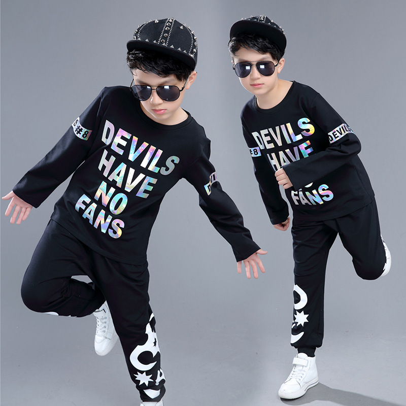 Kids Adults spring summer children's clothing set Red Black Costumes Hip Hop dance Pants & Reflective T-shirt kids suits twinset 2016 kids adults spring summer geometric star set black costumes hip hop dance pants