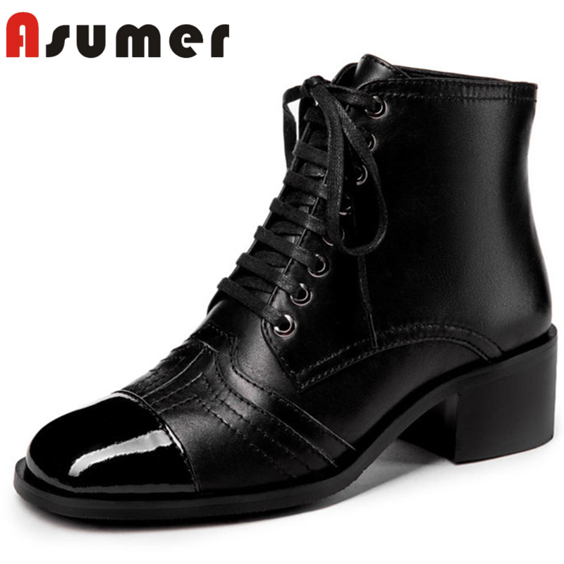 ASUMER 2018 hot sale adult ankle boots for women fashion med heels winter boots high quality square toe genuine leather bootsASUMER 2018 hot sale adult ankle boots for women fashion med heels winter boots high quality square toe genuine leather boots