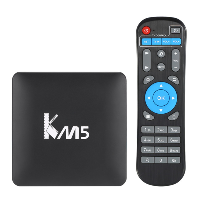 Mecool KM5 TV caja Android 6,0 Amlogic S905X Quad core 1 GB 8 gb WiFi H.265 HDR10 KD17.0 preinstalado Smart TV Box 4 K Media Player