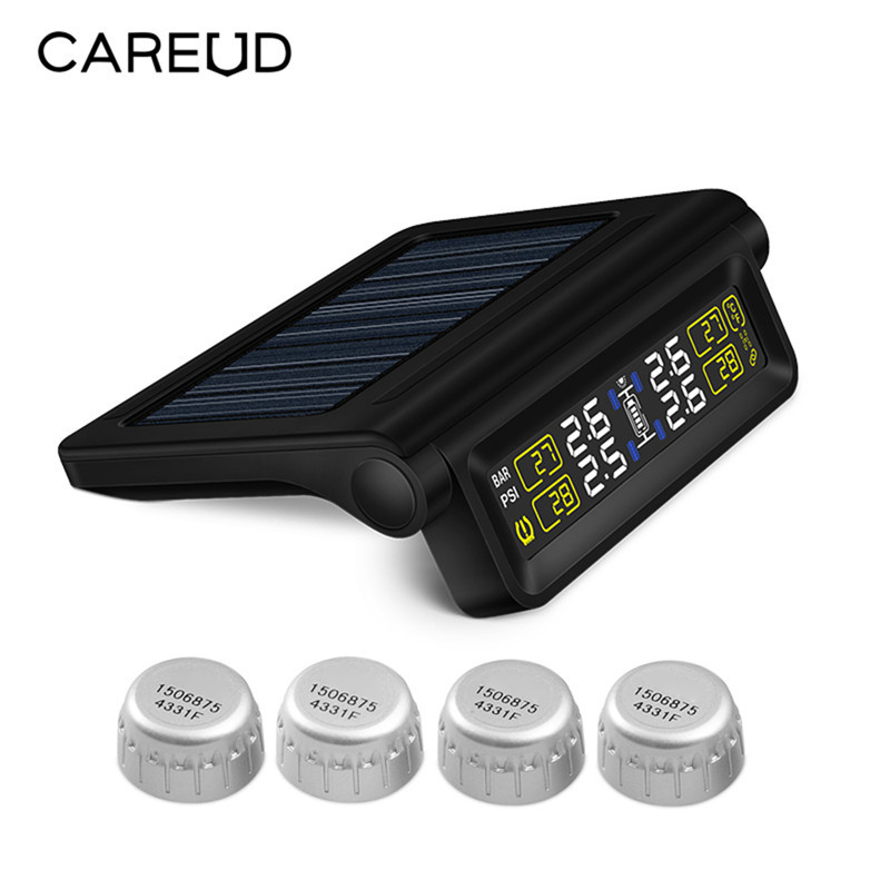 Careud T318 Car TPMS Built-in Lithium Battery USB Cable Solar Energy Two Power Supply Car Tire Pressure Monitor 100w folding solar panel solar battery charger for car boat caravan golf cart