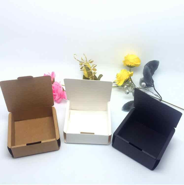 2019 New Kraft Paper Box Black Cardboard Packaging Boxes For Handmade Soap Small White Jewelry Gift Box