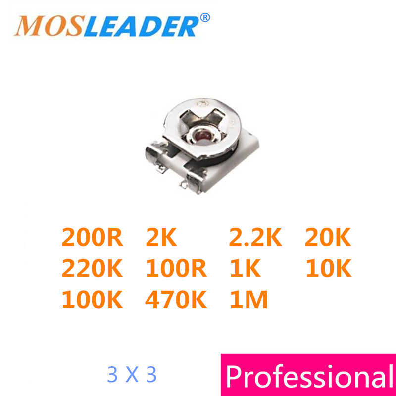 Mosleader 100PCS 3X3 200R 2K 20K 200K 100R 1K 10K 100K 470K 1M 200ohm 100ohm 3MM SMD Trimmer Potentiometer High quality aiyima 50pcs good quality rv09 type vertical adjustable potentiometer variable resistor 1k 2k 5k 10k 20k 50k 100k 200k 500k 1m