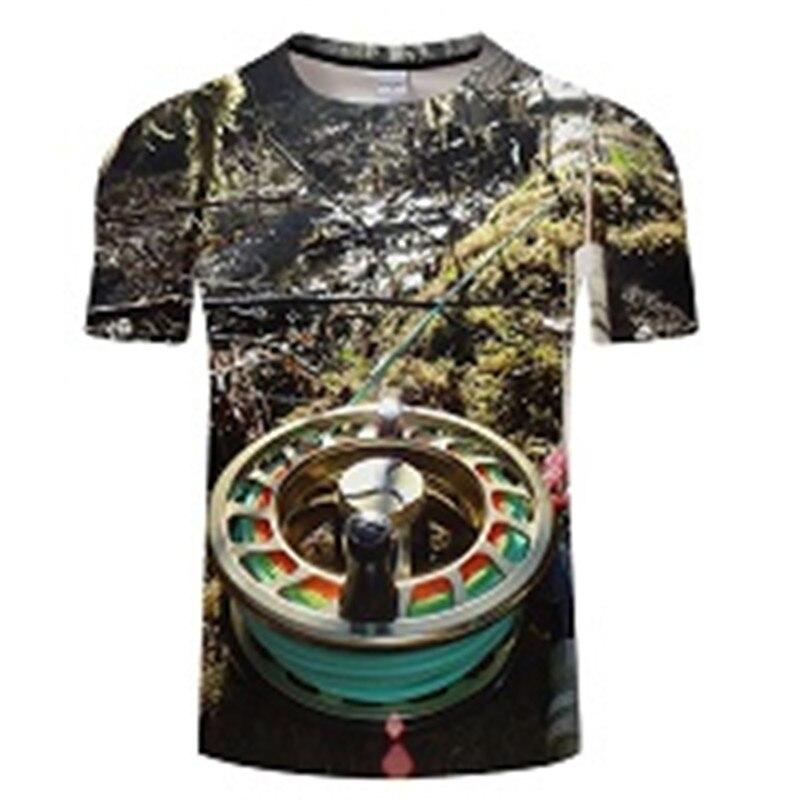 Новая футболка для рыбалки, стильная повседневная футболка с цифровым 3D принтом рыбы, мужская и женская футболка, летняя футболка с коротким рукавом и круглым вырезом, Топы И Футболки S-6XL - Цвет: TXKH442