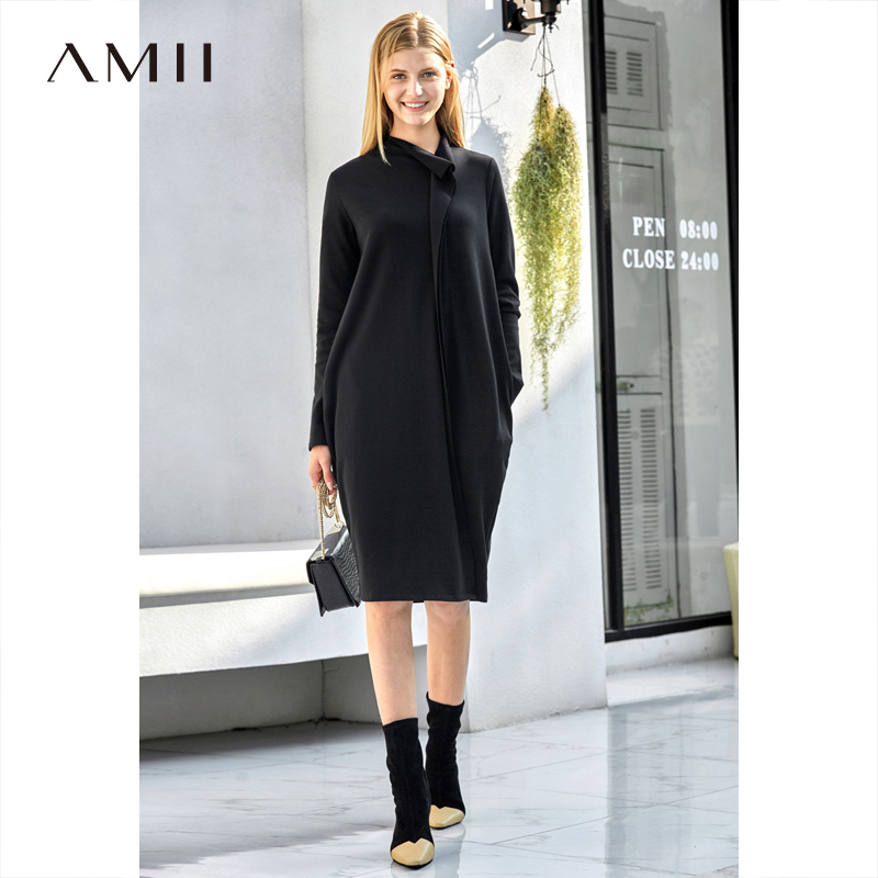 Amii Elegant Women Knit Dress Autumn Winter 2018 Causal Solid Loose PocketsTurtleneck Fashion Female Straight Dresses