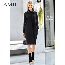 Amii Elegant Women Knit Dress Autumn Winter 2018 Causal Solid Loose PocketsTurtleneck Fashion Female Straight Dresses(China)