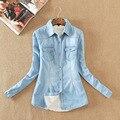 Engrossar Blusas mulheres blusas de manga longa da Camisa das mulheres denim bordado do vintage feminino casual tops chemise femme calça jeans blusa