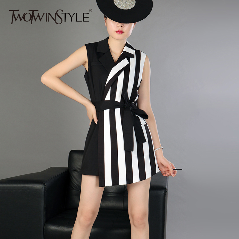 TWOTWINSTYLE Striped Vest Playsuits For Women V Neck Sleeveless Patchwork Belt High Waist Irregulae Mini Trousers