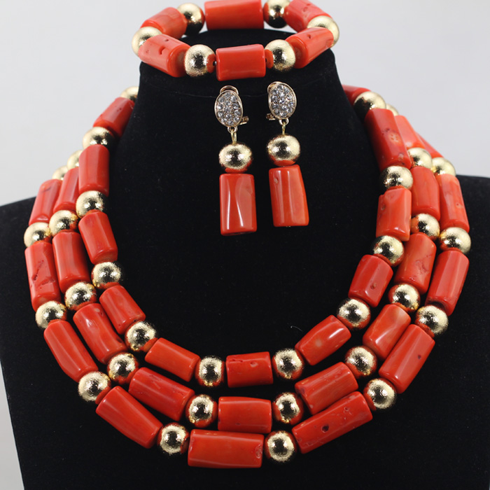 Gold Balls Jewelry Accessories African Nigerian Coral Jewelry Set 3 Rolls Indian Bridal Inspiration Beads Free Shipping CNR649Gold Balls Jewelry Accessories African Nigerian Coral Jewelry Set 3 Rolls Indian Bridal Inspiration Beads Free Shipping CNR649