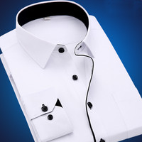 Men S Dress Shirts Male Long Sleeve Big Size 78910 XL Business Office Casual Slim Fit