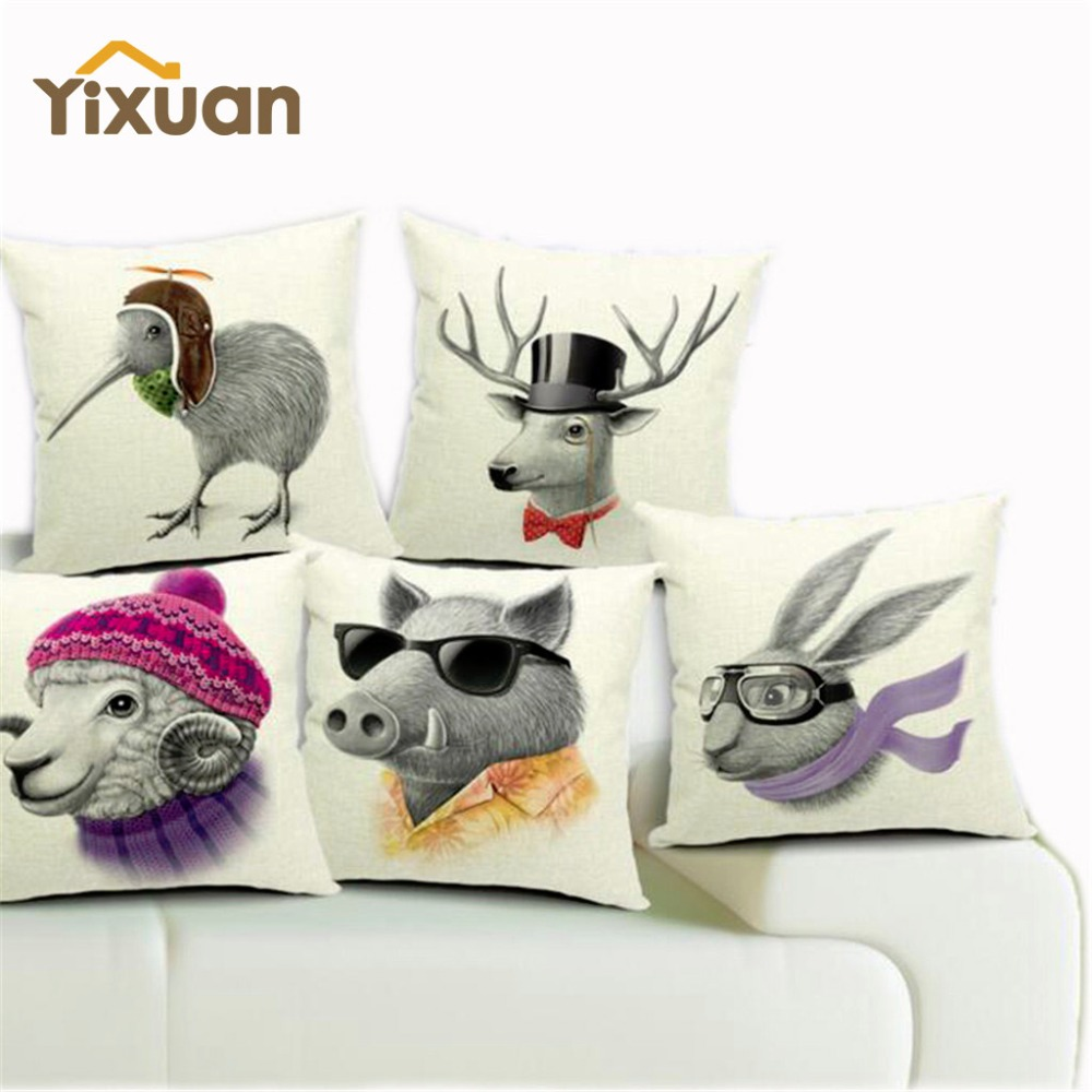 45*45cm Quality Linen Animal Printed Decorative Cushion Cover Pig Rabbit Deer Sheep Throw Pillow Case Car Seat Pillowcases