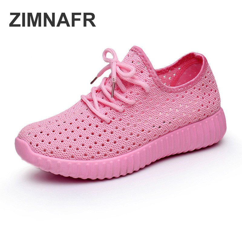 ZIMNAFR 2018 WOMEN CASUAL SHOES Breathable mesh shoes flat bottom hollow casual FASHION SNEAKERS shoes summer mesh SHOES